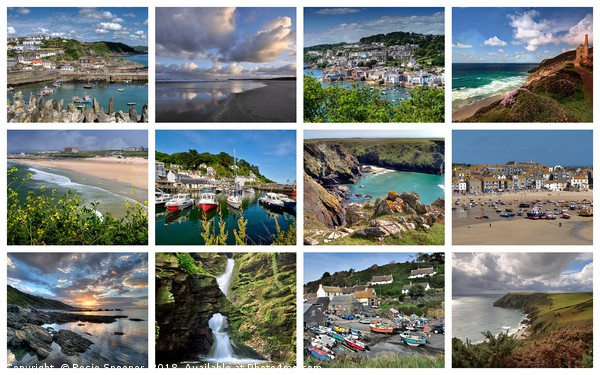 A collage of twelve beautiful Cornish views Canvas print by Rosie Spooner