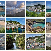 Buy canvas prints of A collage of twelve beautiful Cornish views by Rosie Spooner