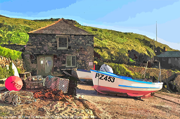 Fishing Boat at Mullion on the Lizard Peninsula Canvas print by Rosie Spooner