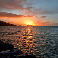 Buy canvas prints of Sunrise at Meadfoot Beach in Torquay by Rosie Spooner