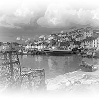 Buy canvas prints of Brixham in Black and White by Rosie Spooner