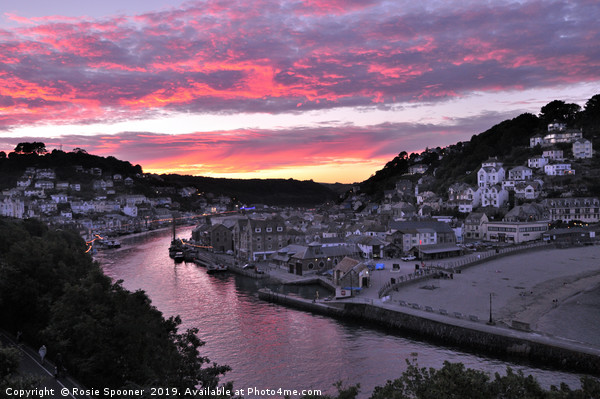 Looe at Sunset from Hannafore West Looe Canvas print by Rosie Spooner