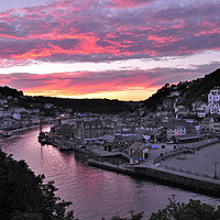 Buy canvas prints of Looe at Sunset from Hannafore West Looe by Rosie Spooner