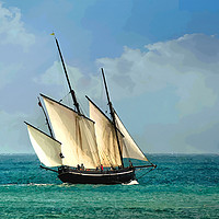 Buy canvas prints of  Lugger sailing boat Grayhound in Looe Cornwall by Rosie Spooner
