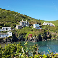 Buy canvas prints of Port Isaac in Cornwall  viewed from the coast path by Rosie Spooner