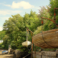 Buy canvas prints of  Waiting For The Tide At Noss Mayo by Peter Hunt