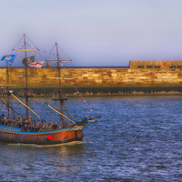 Buy canvas prints of whitby tall ship by Robert Bennett