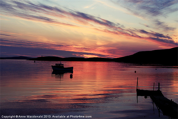Boat In Sunset At Trondra, Shetland. Canvas print by Anne Macdonald