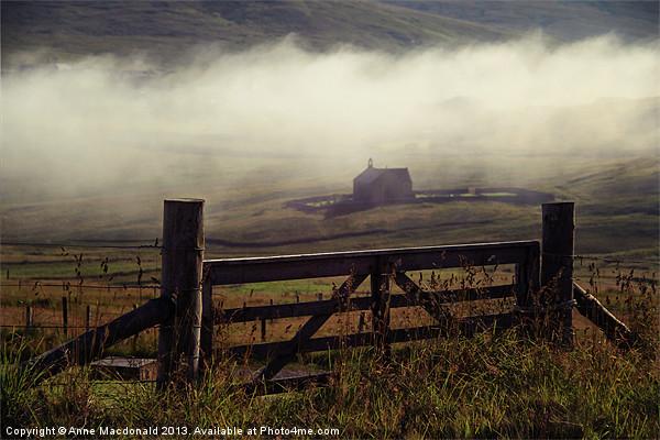 Church In Mist, Quarff, Shetland. Canvas print by Anne Macdonald