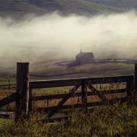 Buy canvas prints of Church In Mist, Quarff, Shetland. by Anne Macdonald