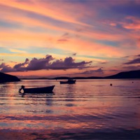 Buy canvas prints of Small Boats In Shetland Sunset by Anne Macdonald
