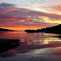 Buy canvas prints of Sunset Over Port Arthur Scalloway by Anne Macdonald