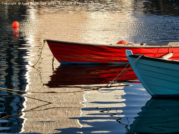 Small Boat Reflections At Lerwick Museum, Shetland Canvas print by Anne Macdonald