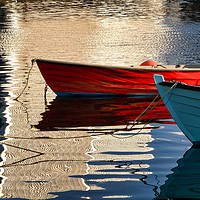 Buy canvas prints of Small Boat Reflections At Lerwick Museum, Shetland by Anne Macdonald