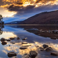 Buy canvas prints of Loch Tay winter sunset by Archie Mclaren