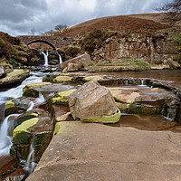 Buy canvas prints of Three Shires Head Waterfalls by Andy McGarry