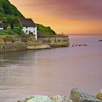Buy canvas prints of Evening over Runswick Bay Yorkshire by Martyn Arnold