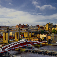 Buy canvas prints of  Newcastle Cityscape and Tyne Bridges by Martyn Arnold