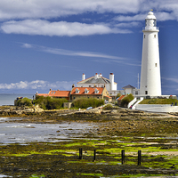 Buy canvas prints of  St. Mary's Lighthouse Whitley Bay by Martyn Arnold