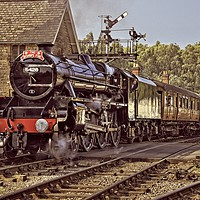 Buy canvas prints of NYMR Steam Train at Grosmont Yorkshire by Martyn Arnold