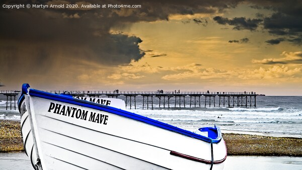 Stormy Skies Over Saltburn Canvas Print by Martyn Arnold