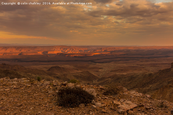 Fish River Canyon Sunset Canvas print by colin chalkley