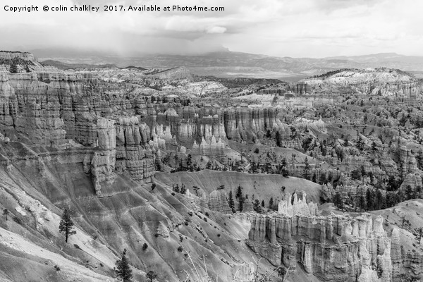 The Silent City in Bryce Canyon - Mono Canvas print by colin chalkley