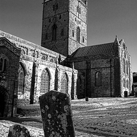 Buy canvas prints of St Davids Cathedral Monochrome by Barrie Foster