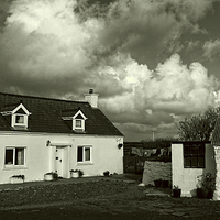 Buy canvas prints of Cottages Near Aberieddy by Barrie Foster