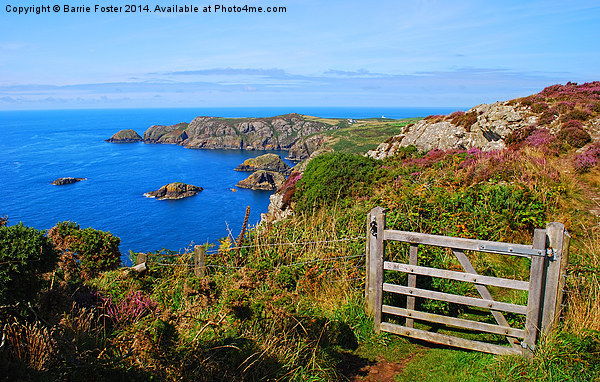 The Wales Coast Path above Pwllderi Canvas print by Barrie Foster