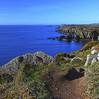 Buy canvas prints of  The Wales Coast Path above St Non's Bay by Barrie Foster