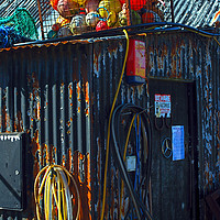 Buy canvas prints of Wriggly Tin: Matt's Shed by Barrie Foster