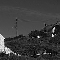 Buy canvas prints of Abereiddy Cottages by Barrie Foster