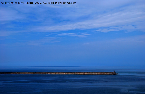 Study in Blue. Goodwick Harbour Breakwater Canvas print by Barrie Foster