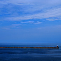 Buy canvas prints of Study in Blue. Goodwick Harbour Breakwater by Barrie Foster