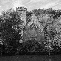Buy canvas prints of THE CHURCH OF ST AIDAN, LLAWHADEN: Mono by Barrie Foster