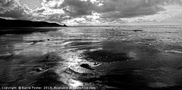 Newgale Reflections Canvas print by Barrie Foster
