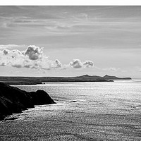 Buy canvas prints of St Davids Head from above Pwllderi by Barrie Foster