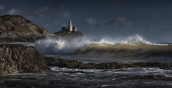 The wave at Bracelet Bay Canvas print by Leighton Collins