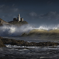 Buy canvas prints of  The wave at Bracelet Bay by Leighton Collins