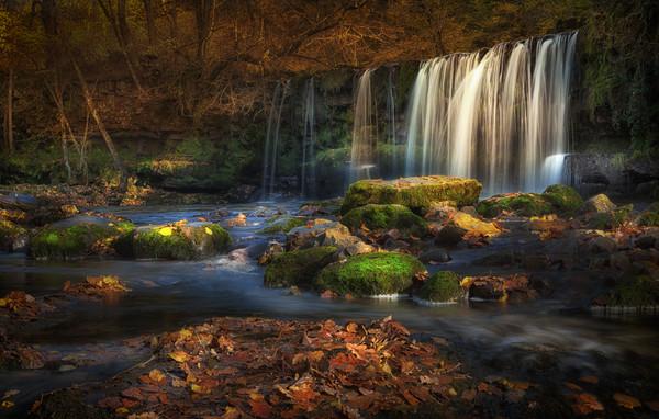 Sgwd Ddwli Uchaf waterfalls South Wales Canvas print by Leighton Collins