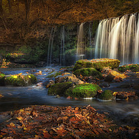 Buy canvas prints of Sgwd Ddwli Uchaf waterfalls South Wales by Leighton Collins
