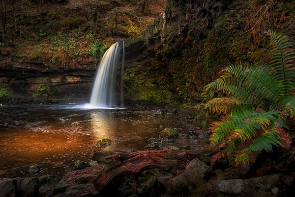 Lady Falls Sgwd Gwladus waterfall Canvas print by Leighton Collins