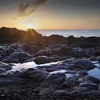Buy canvas prints of Sunrise at Bracelet Bay by Leighton Collins