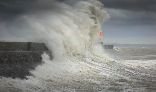 Storm Ciara hits Porthcawl lighthouse Canvas print by Leighton Collins