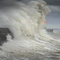Buy canvas prints of Storm Ciara hits Porthcawl lighthouse by Leighton Collins