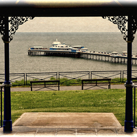 Buy canvas prints of  Llandudno Pier viewed from Happy Valley (Grunged) by Frank Irwin