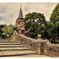 Buy canvas prints of Port Sunlight Lyceum & Dell bridge - Grunged by Frank Irwin