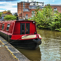Buy canvas prints of A Canal Narrowboat berthed on the Shropshire Union by Frank Irwin