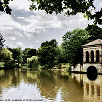 Buy canvas prints of Birkenhead Park, Swiss Bridge and Boathouse. by Frank Irwin
